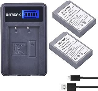 Batmax 2000mAh 2Pcs PS-BLS-5 BLS5 BLS50 Battery + LCD USB Charger for Olympus BLS-5, BLS-50, PS-BLS5 Pen E-PL2,E-PL5,E-PL6,E-PL7,E-PM2,OM-D E-M10,E-M10 Mark II,III,Stylus1 Camera Batteries