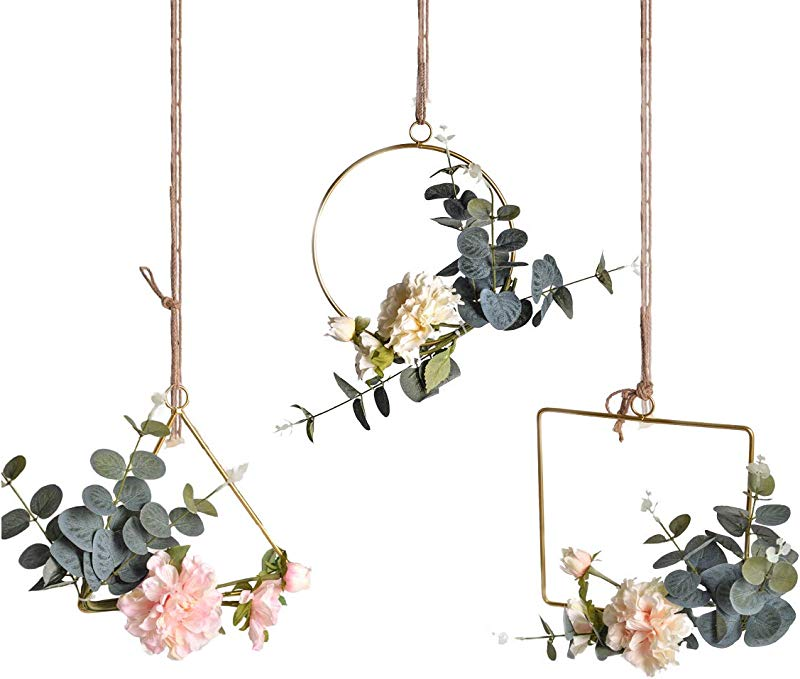 Pauwer Floral Hoop Wreath Set Of 3 Artificial Peony Flower And Eucalyptus Vine Wreath For Wedding Party Backdrop Decor