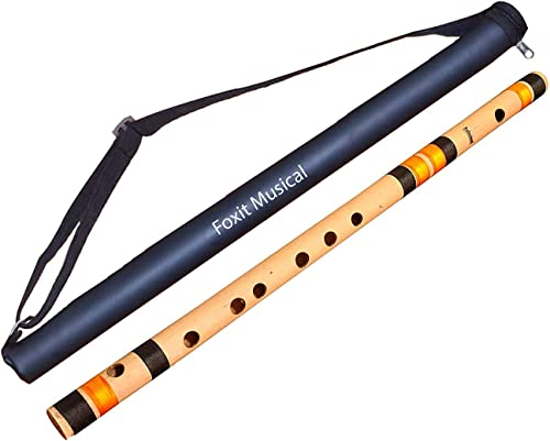 Foxit Professional Flutes C Sharp Medium Right Hand Bansuri Size 18 5 inches With Free Carry Cover