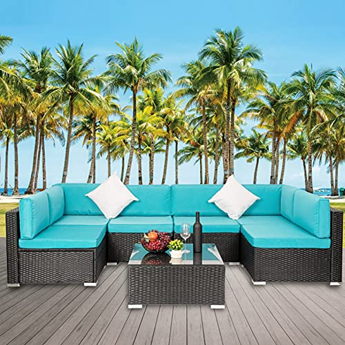 Vagowin 7 Piece Patio Furniture Sets, Outdoor Sectional Set, Outside Seating Patio Rattan Conversation Sofa with Cushions and Coffee Table for Deck Garden Poolside, Blue