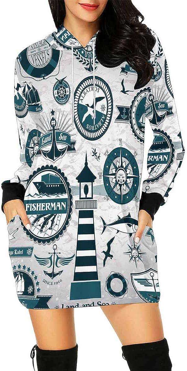 InterestPrint Women's Long Sleeve Mini Max 84% OFF Llama Dress Hoodie Cactus Mesa Mall
