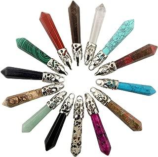 Hexagonal Healing Pointed Stone Pendant Gems 14pcs Long Reiki Chakra Crystal Quartz Rock Charm Pendant for Necklace Jewelry Making