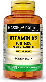 Mason Natural Vitamin K2 Plus D3, 100 Tablets Dietary Supplement
