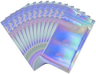50 Pcs Sacs Pochette Plastique en Aluminium Couleur Holographique Sachet Zip Refermable Anti-Odeur pour Stockage de Nourri...