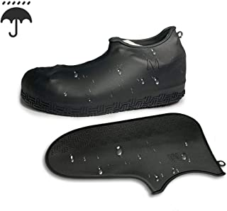 Hawby Portable Waterproof Shoes Rain Cover Silicone Anti-Skid Lines Non Slip Thicken Wear Resistant Outdoor Activities Black Lightweight Size Large Medium Small