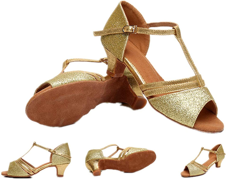 Unyielding1 Ballroom Dance shoes Women Flared Heel Latin Dress shoes Salsa Wedding shoes