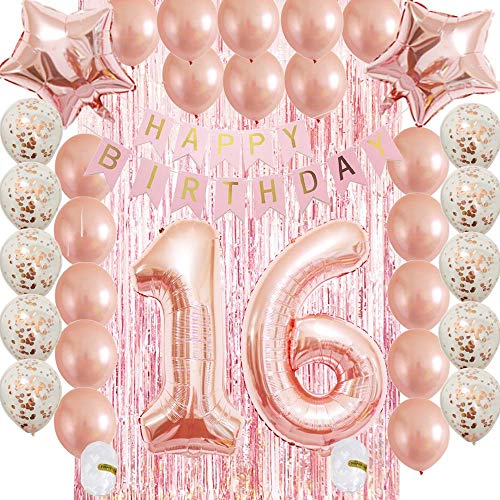 Hoobalon Sweet16th Birthday Decorations Party Supplies Set-Rose Gold Confetti Latex Balloons-Happy 16th Banner as Gift for Her Girls,Women,Men Table Decorations Favors,Photo Props|Mylar Star