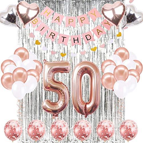 SUNPAT Decoraciones de Cumpleaños Número 50 Banner Globo Decoraciones de Cumpleaños Número 50 Artículos de Fiesta Regalos Para Mujeres Globos Número 50 de Oro Rosa, Globos de Confeti de Oro Rosa