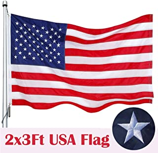 American Flag 2x3 Ft, Nylon US Flag Embroidered Stars Sewn Stripes Brass Grommets Tough Durable Fade Resistant All Weather USA Flags 2 x 3 Foot Outdoor