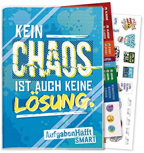 Häfft Smart Hausaufgabenheft A5 [Chaos] ohne Datum | Der Clou: immer sichtbarer Stundenplan! Inkl. Kunstoffumschlag + Sticker