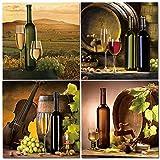 QZROOM 4 Piezas Modernas Pinturas en Lienzo de Cocina Botella de Vino Tinto Arte de la Pared Pintura al óleo Set Bar Comedor Decoración Imágenes -40x40cmx4 Sin Marco