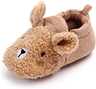 TZOU Winter Baby Teddy Cashmere Shoes 0-1 Years Old Newborn Baby Shoes in Autumn and Winter Velvet Thickening Warm Cartoon...