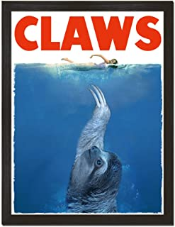 Sharp Shirter Funny Sloth Movie Poster Cool Animal Print Claws Jaws White Wall Art Nautical Decor Unframed 8x10 inches