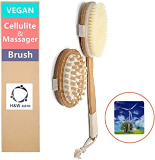 Dry Brushing Body Brush Set-Vegan Bristle-Long handle detachable curved Massager Brush Scrubber Kit -Exfoliating, Reduce cellulite,Stimulate lymphatic, Remove toxins,Unclogs pores, Stress relief