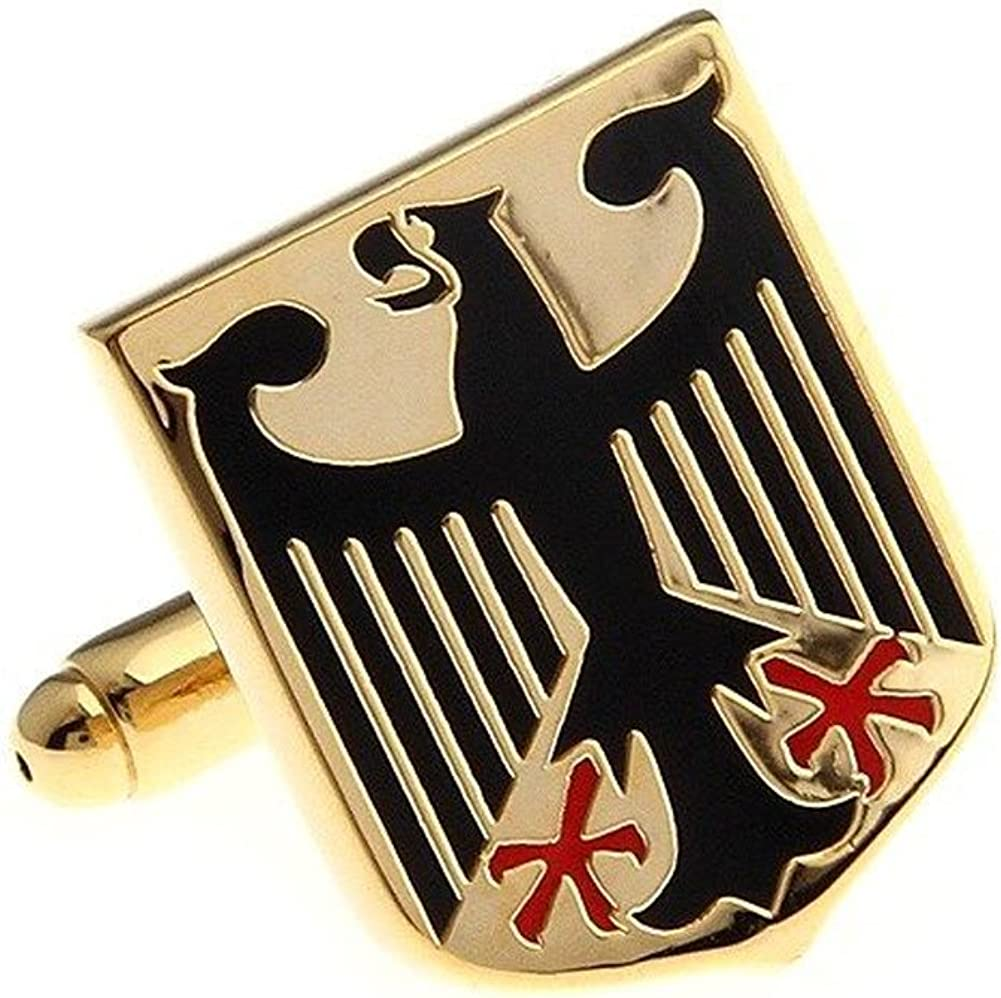 Mens Executive Cufflinks Coat of Arms of Germany Gold Tone Eagle Shield Cuff Links