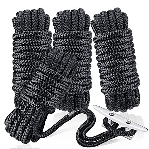 """Dock Lines & Ropes Boat Accessories - 4 Pack 3/8' x 15' Double Braided Nylon Dock Lines with 12"""" Loop Excellent 5800 lbs Breaking Strength Marine Rope for Kayak Pontoon Boats up to 30ft Boating Gifts"""