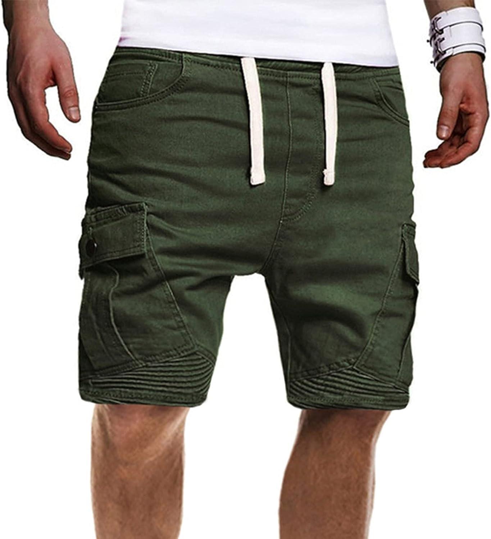 YUNDAN Mens Baggy Cargo Shorts Fashion Solid Color Crop Pants Workout Gym Hiking Biker Plus Size Big & Tall Shorts