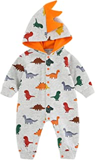 VILOVE Newborn Infant Baby Girl Boy Lovely Cartoon Dinosaur 100% Cotton Hooded Romper Jumpsuit Outfits Baby Clothes Bodysuit
