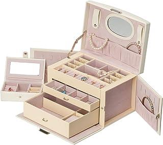 – Joyero Grande para Mujer de alta calidad - Organizador de Joyas de 3 niveles – Caja Joyero con Espejo y Mini Estuche de Viaje incluido – Cuero sintético