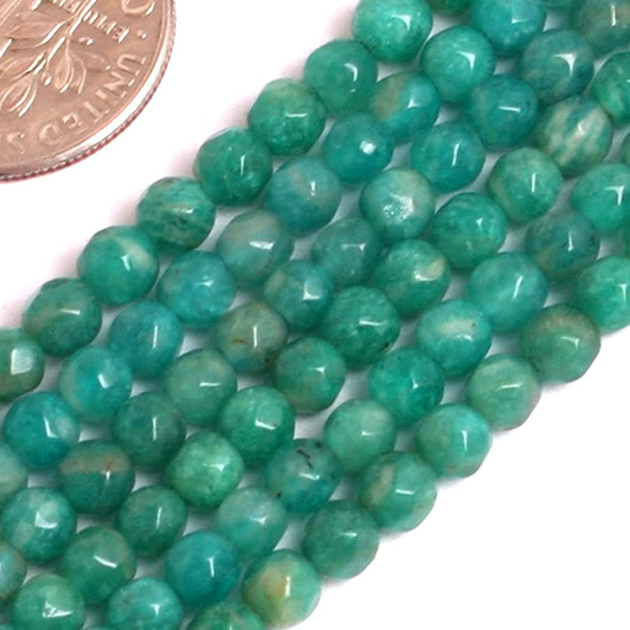 GEM-inside Natural 4mm Faceted Amazonite Gemstone Loose Beads Blue Green Russian Crystal Energy Stone Beads for Jewelry Making Jewelry Beading Supplies for Women