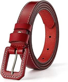 Women's Genuine Skinny Leather Belt Exquisite Alloy Buckle Christmas Gift Retro Versatile Belt (Color : Red, Size : 110cm)