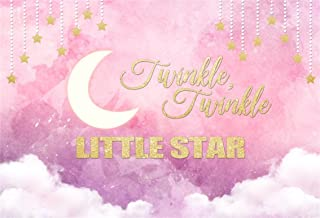 LFEEY 5x3ft Twinkle Twinkle Little Star Background Sweet Crescent Moon Backdrop Good Dream Baby Shower Girl Princess Newborn Infant Kid Birthday Party Decoration Photo Studio Props Vinyl Banner