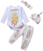 Baby Girl Outfits Fall Long Sleeve Letter Dream Catcher Romper +Pants+Headband+Hat 4 Pcs Clothes Set