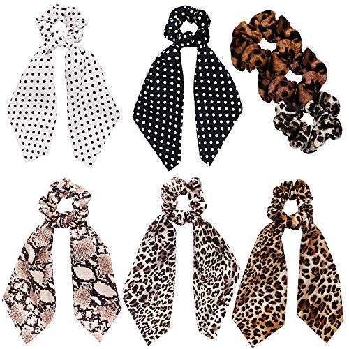 Ivyu Scrunchies for Hair Scarf Ties for Women Girls Satin Silk Cheetah Scarves Scrunchie Bow Leopard Ribbon Scrunchy with Tails For Thick Curl Hair No Crease Bandana Accessories Soft Ponytail Holders