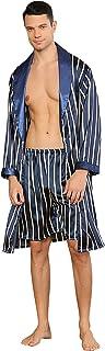 YAOMEI Mens Pyjamas Set, 2-in-1 Dressing Gown Kimono Bathrobe + Pyjamas Bottoms Satin, Mens Silky Long Sleeves PJ Set Robe...