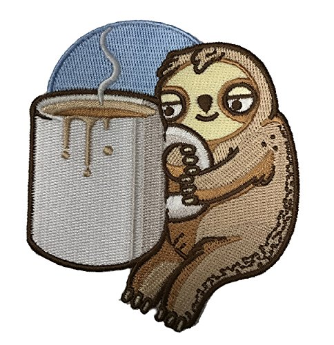 Randy Otter Good Morning Coffee Sloth - Iron On Patch