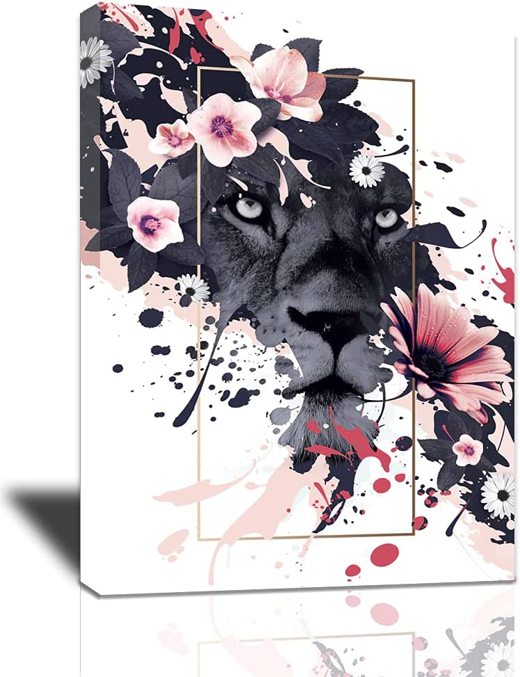Lion Canvas Wall Art: Abstract Mail order cheap Pink Flowers 35% OFF And Gre Picture