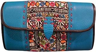 Billetera de Cuero para Mujer 100% Bordado a Mano Funda de Celular Tipo Cartera de Diseñador #102