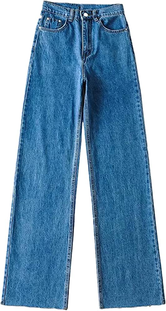 N\P High Easy-to-use Waisted and Free shipping on posting reviews Wide Leg dragging Autumn Straig Jeans Floor