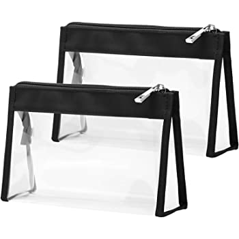 Clear Makeup Bag, F-color Multifunction Transparent Travel Toiletry Bag, Waterproof Large Opening Clear Cosmetic Bag Organizer with Zipper Fits Travel Bathroom, 2 Pack, Black
