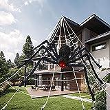 Kit de Decoración Halloween contiene 165cm araña grande, 5m enorme tela de araña triangular, telarañas elásticas, 10 arañas pequeñas, Terror Accesorios Halloween Decoración para Exterior Jardín Casa