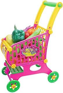 子供のスーパーマーケットのショッピングカートの女の子のままごと野菜果物のシミュレーションのおもちゃ大型トロリーおもちゃの車のセット赤ちゃんのパズル食料品,Vegetable pink