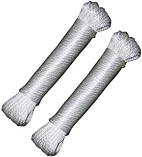 Katzco Nylon Rope Twisted Solid Braided 2 Pack of 1/8 Inch x 50 Foot Ropes - for Camping, Sports and Outdoors, Construction, Moving, Furniture, Towing, Wheel and Axles, Boat Docks, and Fishing