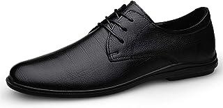 DADIJIER Oxfords Zapatos de Vestir para Hombres Plaid de Punta de Punta Redonda Redonda de 3 Ojos hacia Arriba Bloque de b...