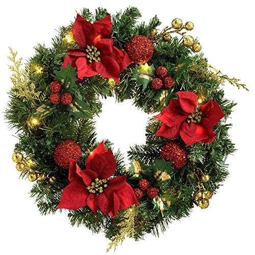 WeRChristmas Couronne 60 cm avec décoration de Noël illuminé avec 20 LED Blanc Chaud, Rouge/Or