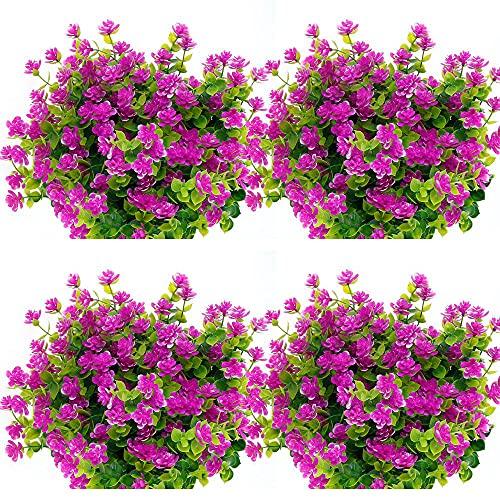 10 paquetes de flores artificiales para exteriores, arbustos artificiales, flores artificiales de plástico, resistentes a los rayos UV, plantas de arbustos verdes, para casa, jardín, fiesta, boda