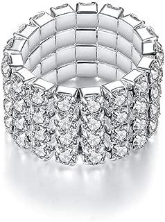 New Sparkling 4 Row Crystal Rhinestone Stretch Ring