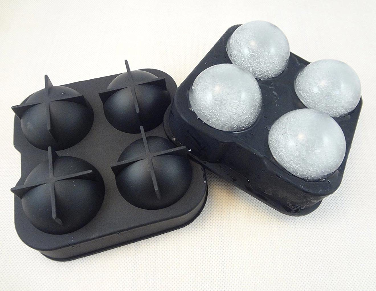 Sampton ice Trays for Freezer Whiskey Ice Cube Silicone Ball Maker Mold Sphere Mould 4 Holes New Ice Balls Party Brick Round Tray Bar Tool ice for Whiskey
