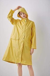 Yhui Poncho impermeable sólido para mujer con capucha y bolsillos dorado dorado