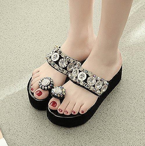 Qingchunhuangtang@ Cool Pantoufles Pente à Fond épais Sandales à Talons Hauts avec des Chaussures de Plage