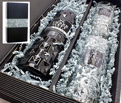 Geschenkkarton mit Three Sixty Vodka BLACK 42% 0,7l und 2 original Gläsern 0,3l