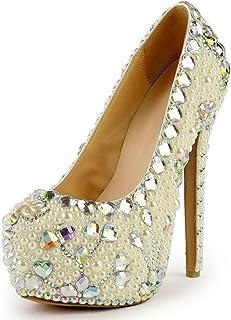 Women's High Heels Wedding Shoes, Shallow Mouth Stiletto Heel High 16Cm Pearl Rhinestone Flower Sexy Platform High Heels Non-Slip for Banquet Wedding to Wear