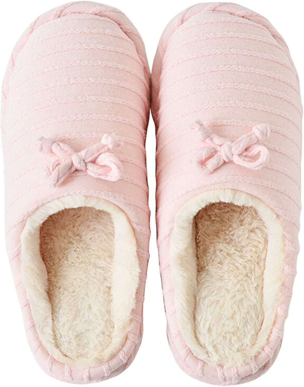 Winter Cotton Warm Slippers for Women,Comfortable Soft Plush Indoor House shoes Anti-Slip Home Bedroom Slippers,Pink Beige