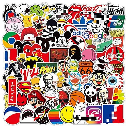 QSXX Coole Marke Aufkleber Pack, 200 Stück Vinyl Aufkleber,Wasserdicht Vinyl Graffiti Sticker Graffiti Style Decals für Gepäck Computer Skateboard Auto Motorrad Aufkleber für Jugendliche Wasserdicht