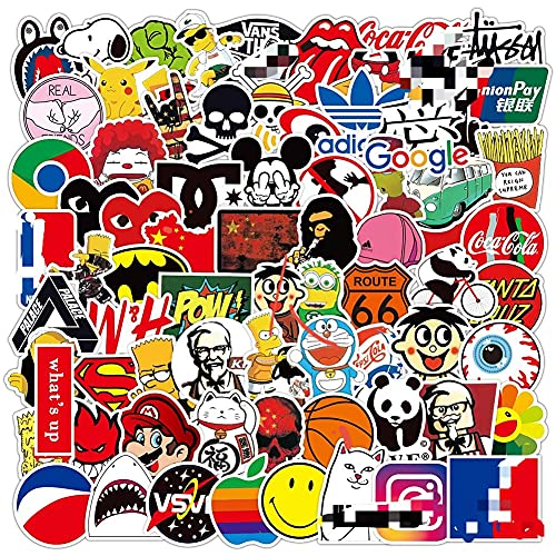 QSXX Cool Brand Stickers Pack, 200 Pcs Vinyl Variety Stickers,Random Sticker Pack Graffiti Decals-Water-proof for Laptop Motorcycle Bicycle Skateboard Luggage Decal Graffiti Patches Stickers