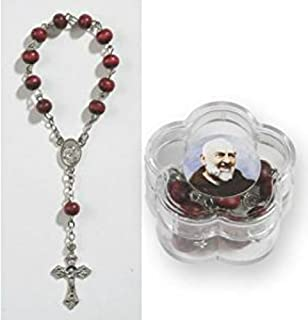 St. Padre Pio Single Decade Rosary with with holder